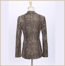 Retro Turn Down Collar Single Button Brown Leopard Blazer Coat Jacket image 5