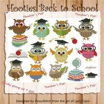 Hooties Back To School cross stitch chart Pinoy Stitch - $10.80