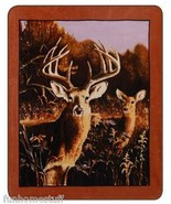 "2 TWO DEER BUCK DOE IN WOODS QUEEN 79"" X 96 SOFT HEAVY WEIGHT BED SPREAD BLANKET - $58.95"