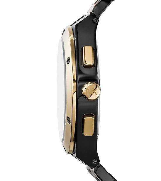 MICHAEL KORS MK5995 REAGAN CHRONOGRAPH BLACK GOLDTONE SS BRACELET WATCH $275 NWT