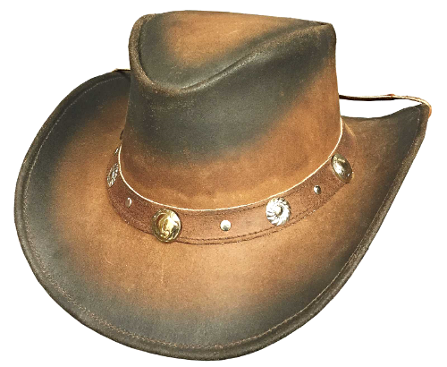 Primary image for Bullhide Bunker Hill Leather Cowboy Hat Aussie Crown Dusted Look Conchos Tan