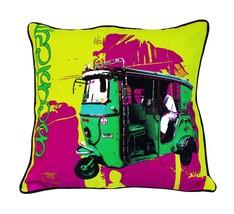 Fatfatiya Cotton Canvas & Poly Dupion Multicolor Green Taxi Cushion Cover - $35.00