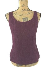 Talbots 10 Large top burgundy wine shimmer paisley lined shell scoop fit shirt  - $15.95