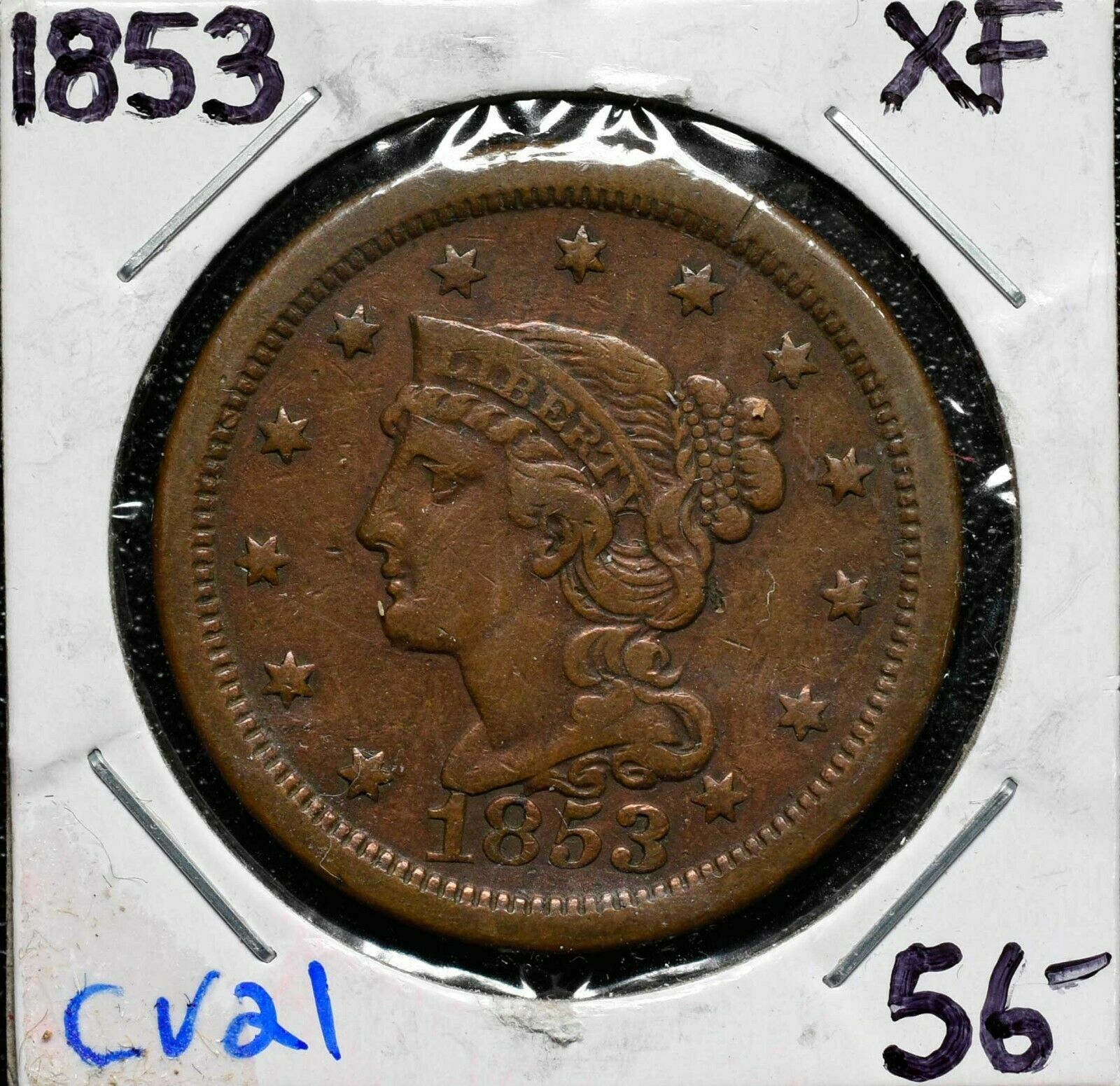1853 LARGE CENT COIN LOT# CV21