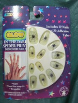GLOW IN THE DARK SPIDER PRINT DESIGNER FINGERNAIL WITH ADHESIVE - $2.25