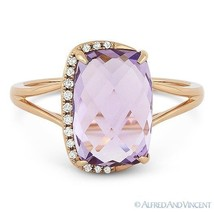 3.51ct Cushion Cut Pink Amethyst & Diamond 14k Rose Gold Right-Hand Fash... - £336.05 GBP