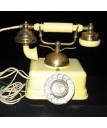 rotary phone Old French Style Phone Rotary Beige Brass Febric Connection... - $23.76