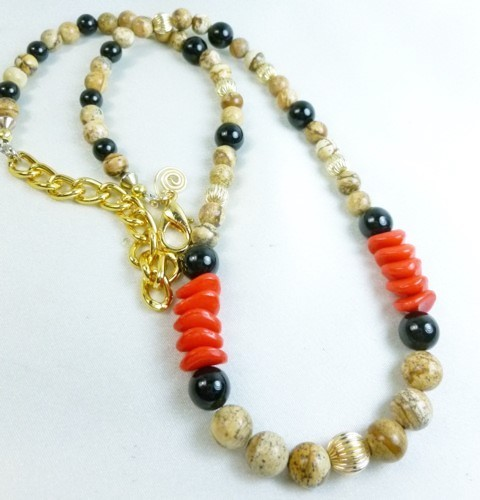 Jasper picture tigerskin beaded gold filled black onyx red necklace 0f09ae9a