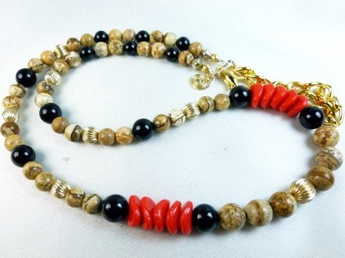 Jasper picture tigerskin beaded gold filled black onyx red necklace 2d94ead3
