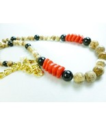 Jasper Picture Beaded Gold Filled Black Onyx Red Necklace - $38.00