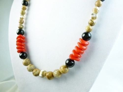 Jasper picture tigerskin beaded gold filled black onyx red necklace 57528622