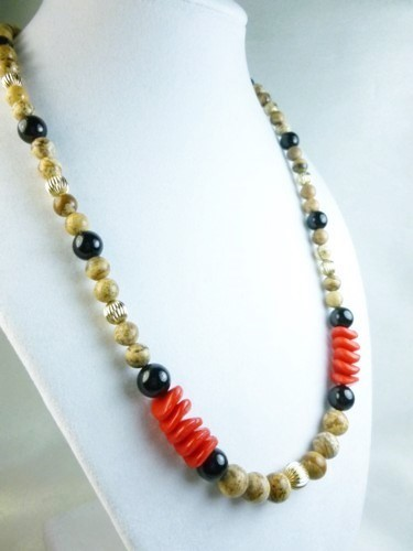 Jasper picture tigerskin beaded gold filled black onyx red necklace ad64c59d