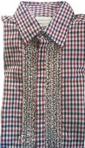 DIESEL Women Plaid Checks Button Shirt Ruffle RED BLACK WHITE Small Cott... - $31.45