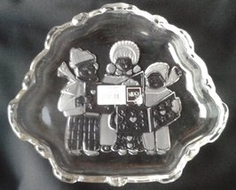 MIKASA Glass Embossed Christmas Carolers Glass Candy Dish - $4.95