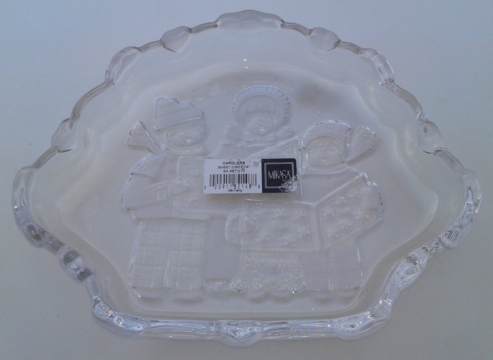MIKASA Glass Embossed Christmas Carolers Glass Candy Dish