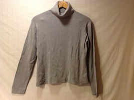 Neiman Marcus Womens Gray Silk Turtleneck Sweater, Size Large