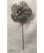 Bronze Stick Pin with Stamped Metal 3D flower H... - $9.90