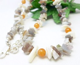 Ocean Jasper White Mother of Pearl Peach Aventurine Nugget Necklace - $18.00