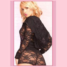 Black Erotic Lace Front Zip Hooded Long Sleeve Lounger Jacket n Sash Tied Shorts