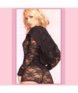 Black Erotic Lace Front Zip Hooded Long Sleeve Lounger Jacket n Sash Tie... - $63.95