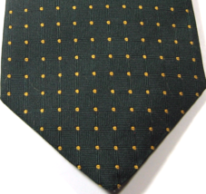Brooks Brothers Makers Rich Green Gold Yellow Polka Dot Tie 100% Silk - $29.99