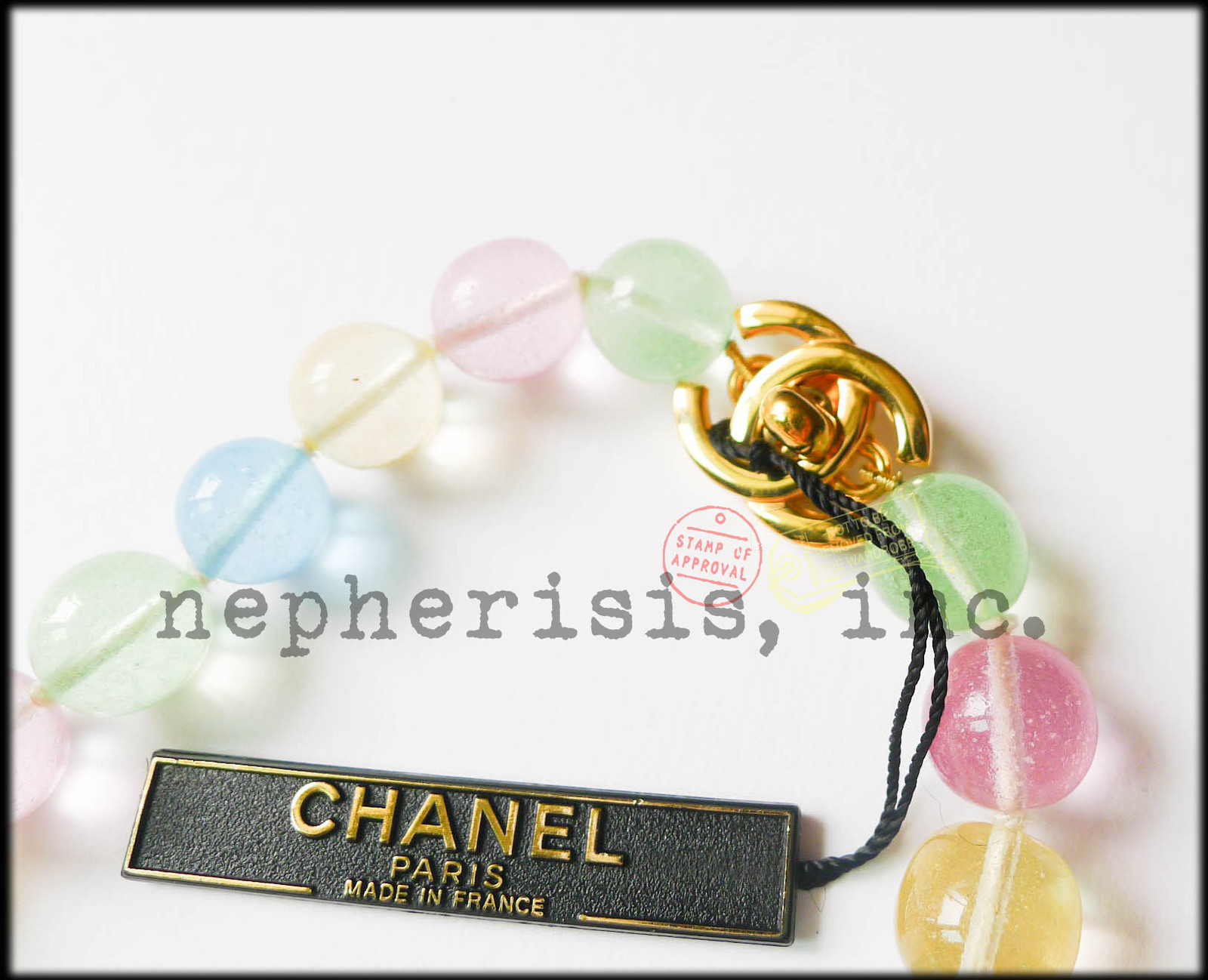 RARE AUTH NWT 1996 Chanel GRIPOIX Multicolor Glass Beads CLOVER Necklace PASTEL