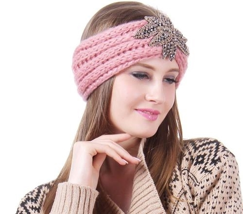 Pink Iris shiny elements Knit Fashion Head wrap