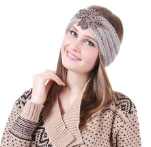 Gray Iris shiny elements Knit Fashion Head wrap
