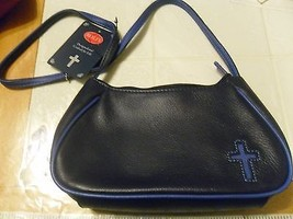 Purse HAND BAG POCKET BOOK ROLF'S GENUINE LEATHER CROSS ON FRONT NEW BLUE - $15.83