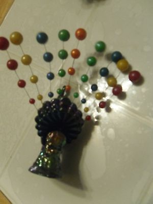 PEACOCK METAL & GLASS/PLASTIC COLORFUL SITTER IRIDESCENT VINTAGE COLLECTIBLE