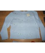 Women BAXTER & WELLS Lt Blue SOFT FLEESE Button Down Top SHIRT Size Medium  - $9.99