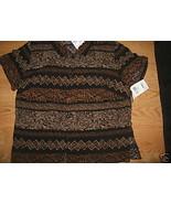 Ladies NORTON McNAUGHTON rayon Brown black Print Top Dress Shirt PM Sara... - $9.99
