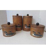 VINTAGE MID CENTURY CORNWALL WOOD 4 PC CANISTER SET DUCK MOTIF NICE - $18.95