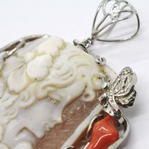 925 STERLING SILVER CAMEO CAMEO, WOMEN'S, BRANCH RED CORAL, FLOWERS, BUTTERFLY image 4