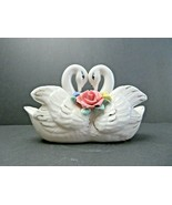 Vintage Elegant Swan Couple Porcelain Ceramic Rose Décor planter - $18.00