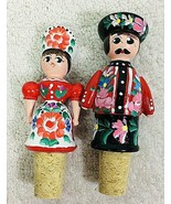 2 Hand Painted Hungary Hungarian Man Woman Wine Bottle Stopper Cork - $24.26