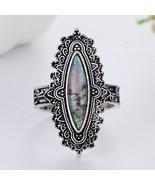 Hot Sale Bohemia  Vintage Rings for Women Luxury Inlaid Big Rainbow Stone Rings  - £6.81 GBP