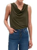 Banana Republic Womens Dark Green Crepe Cowl Neck Top Blouse Large L 4985-4 - $29.44
