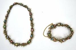 Hollycraft Necklace Bracelet Set 2 Rhinestone Pearl 1951 Signed Vintage - $98.95