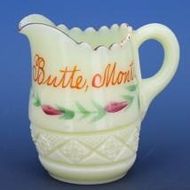 Antique c.1900 EAPG Heisey Cut Block Custard Glass Souvenir of Butte Montana