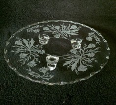 "Fostoria HEATHER Three Toed Tidbit Tray 8-1/8"" Elegant Depression Era - $9.95"