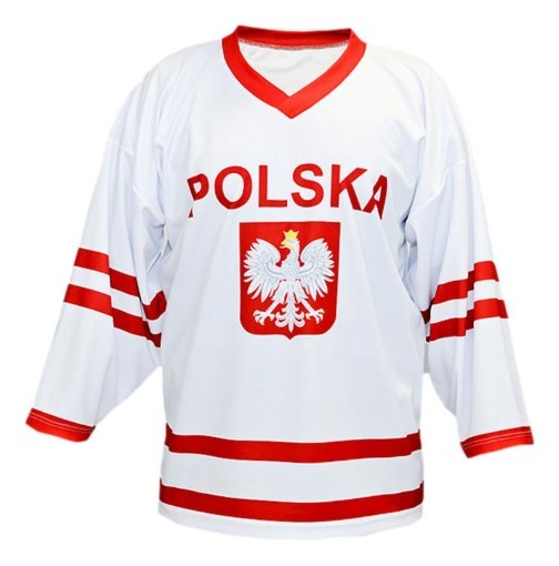 Custom poland polska hockey jersey 1