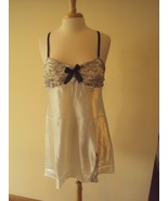 Morgan Taylor Intimates Ivory Satin Chemise lace trim and bow Size Large - $14.80