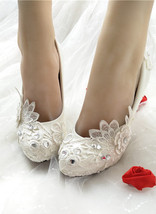 Women Ivory Wedding Shoes,Bridal White Low Heels Shoes Size UK 2,3,4,5,6... - $38.00