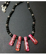 Necklace, Women's Natural Stone Pink Jasper and Obsidian Beads - $24.74