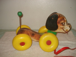 Vintage 1964 Fisher Price Wobbles the dog pull toy #130 - $19.79