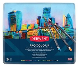 Derwent Colored Pencils, Procolour Pencils, Drawing, Art, Metal Tin, 24 ... - $48.99