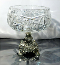 Vintage Candy Dish in Rococo Style - Crystal Cut Bowl on Bronze Pedestal - $59.77