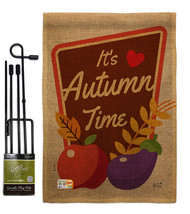 It's Autumn Time Burlap - Impressions Decorative Metal Garden Pole Flag ... - $33.97