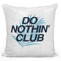 Sequin Throw Pillow Modern Do Nothin Club Mermaid Pillows Silver Toss Pillows - $34.25
